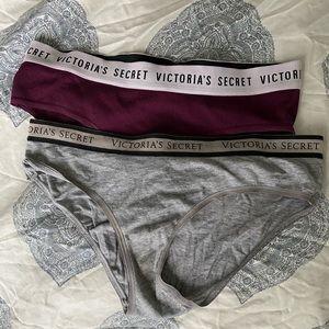2 pairs of Victoria's Secret logo panties